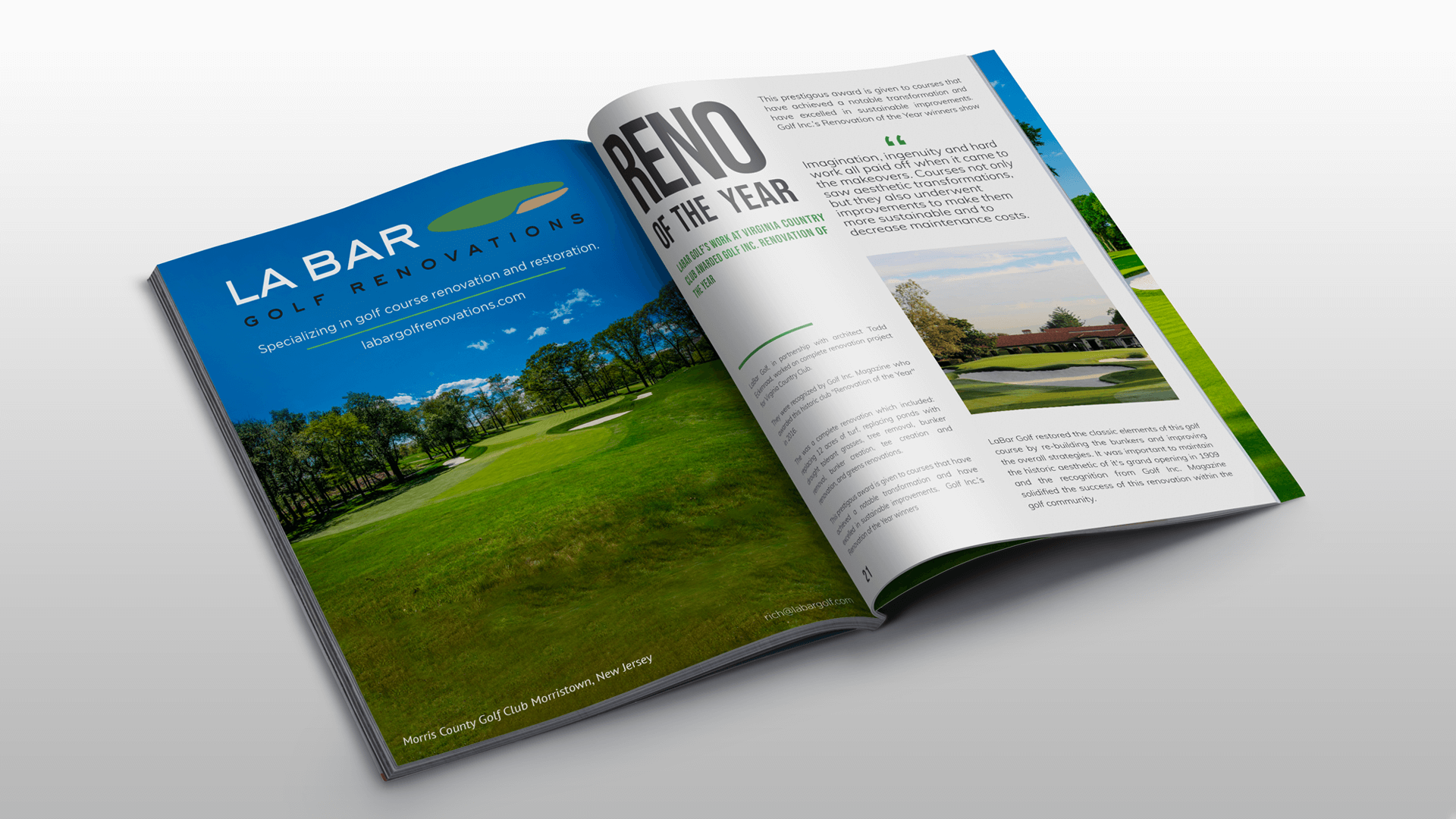 LaBar Golf magazine ad graphic design renovation of the year