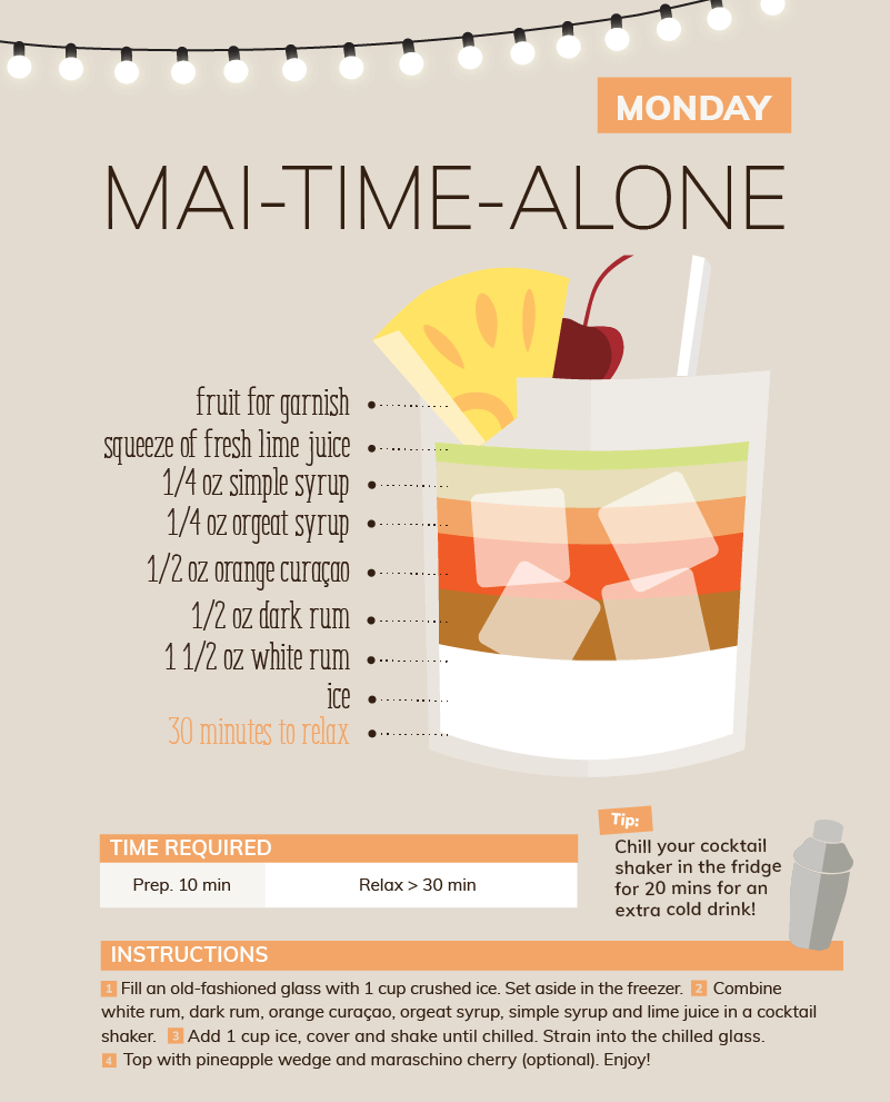 Monday mai time alone quarantine cocktail