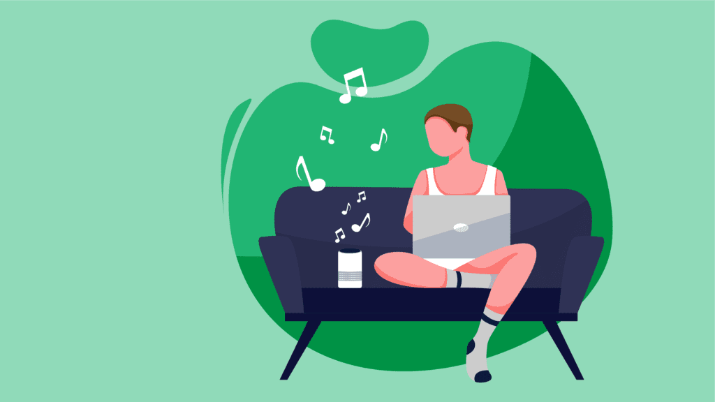 woman listening to music while hanging out at home