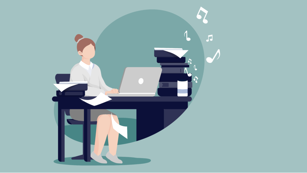 woman with a lot of work, working from home and listening to music