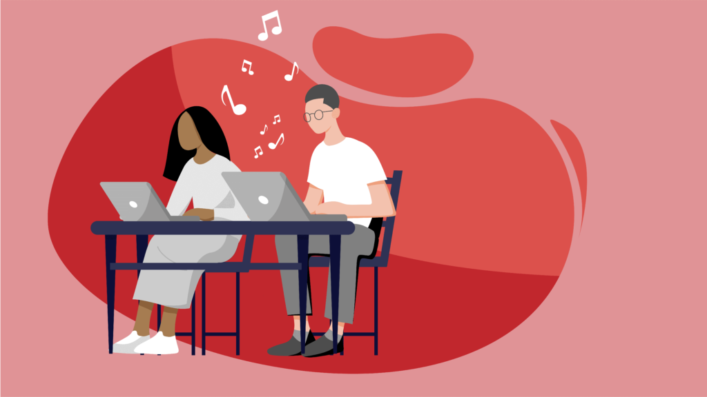 man and woman working from home and listening to music
