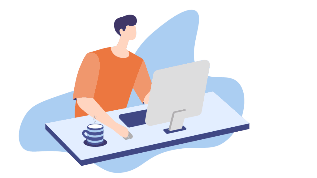 man sitting at desk stay productive working from home