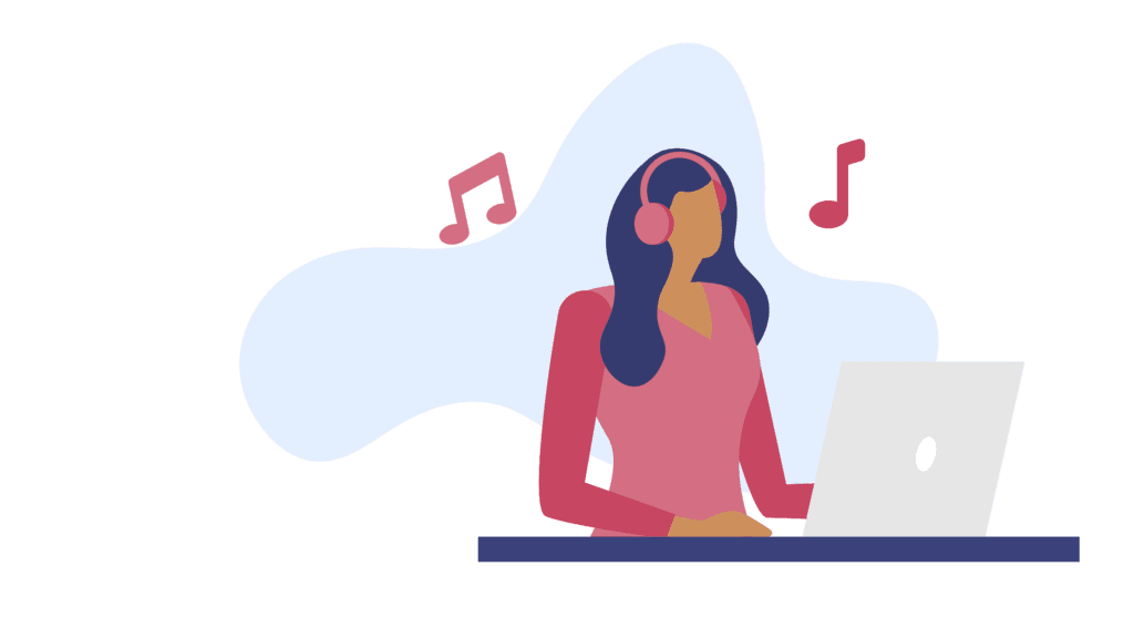 woman listening to music while working  to stay productive working from home