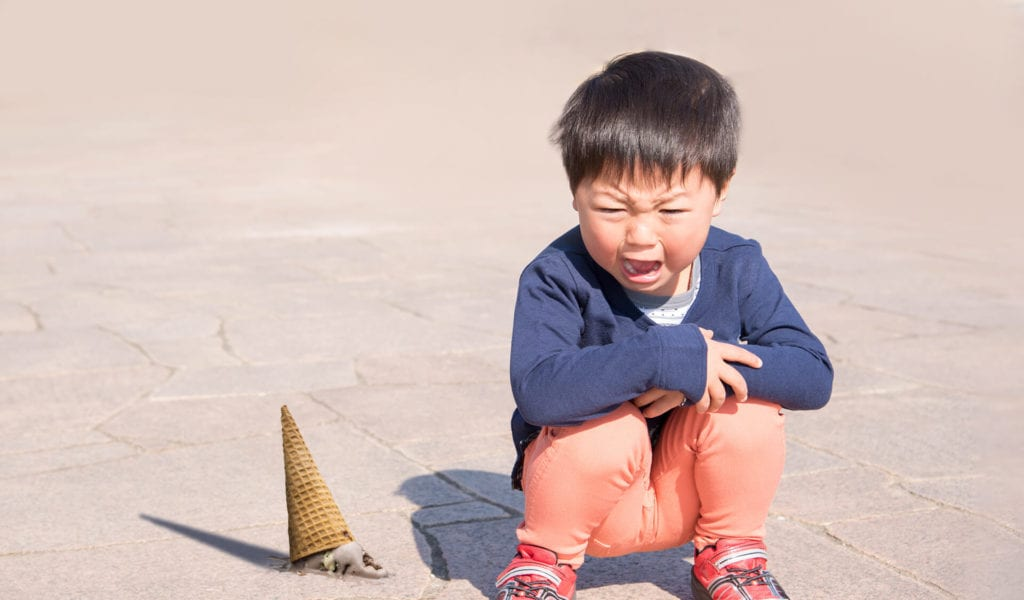 boy crying dropped ice cream  Summer Sales Meltdowns