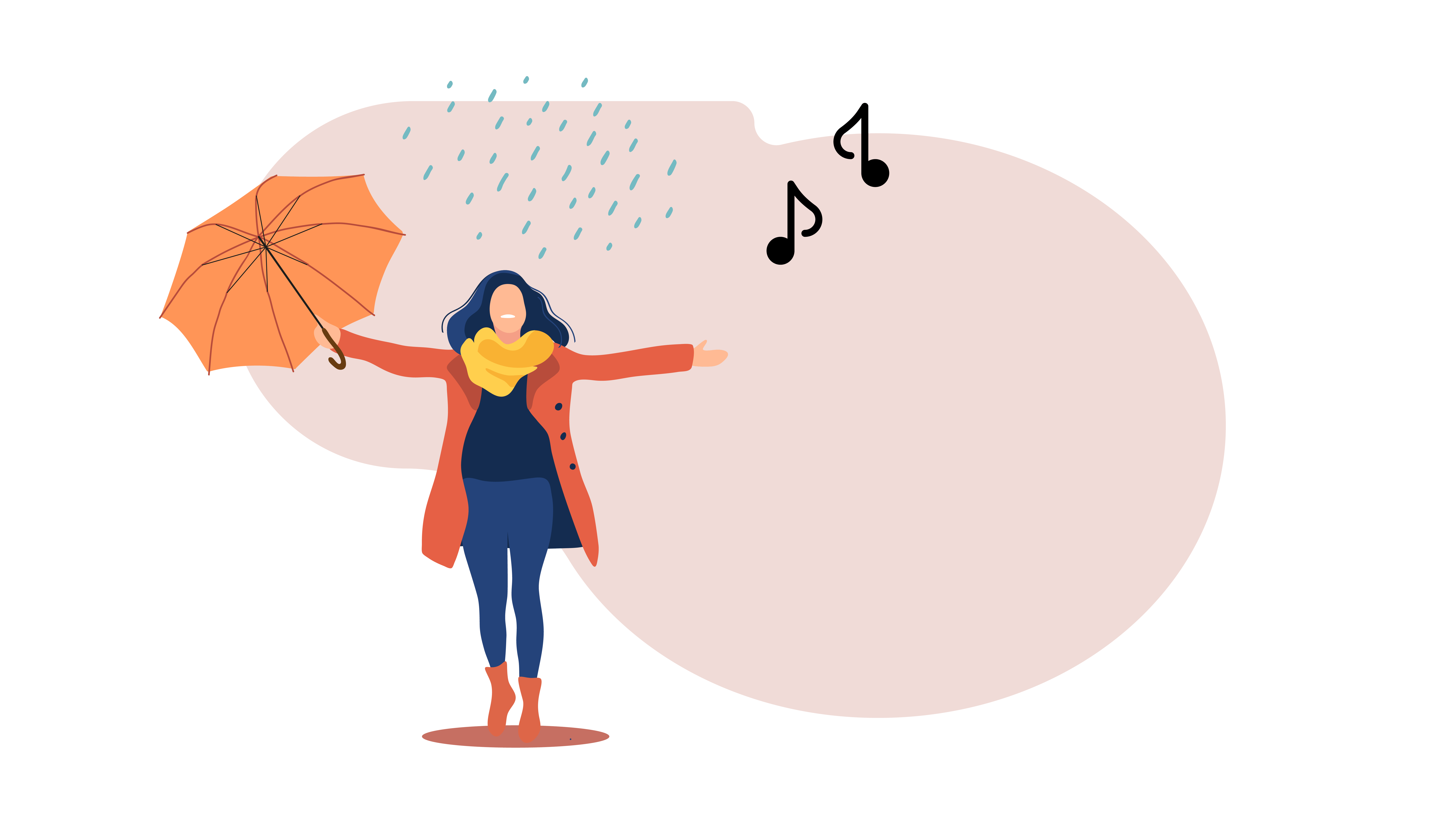 4 Fall Playlists to keep you warm woman standing in rain