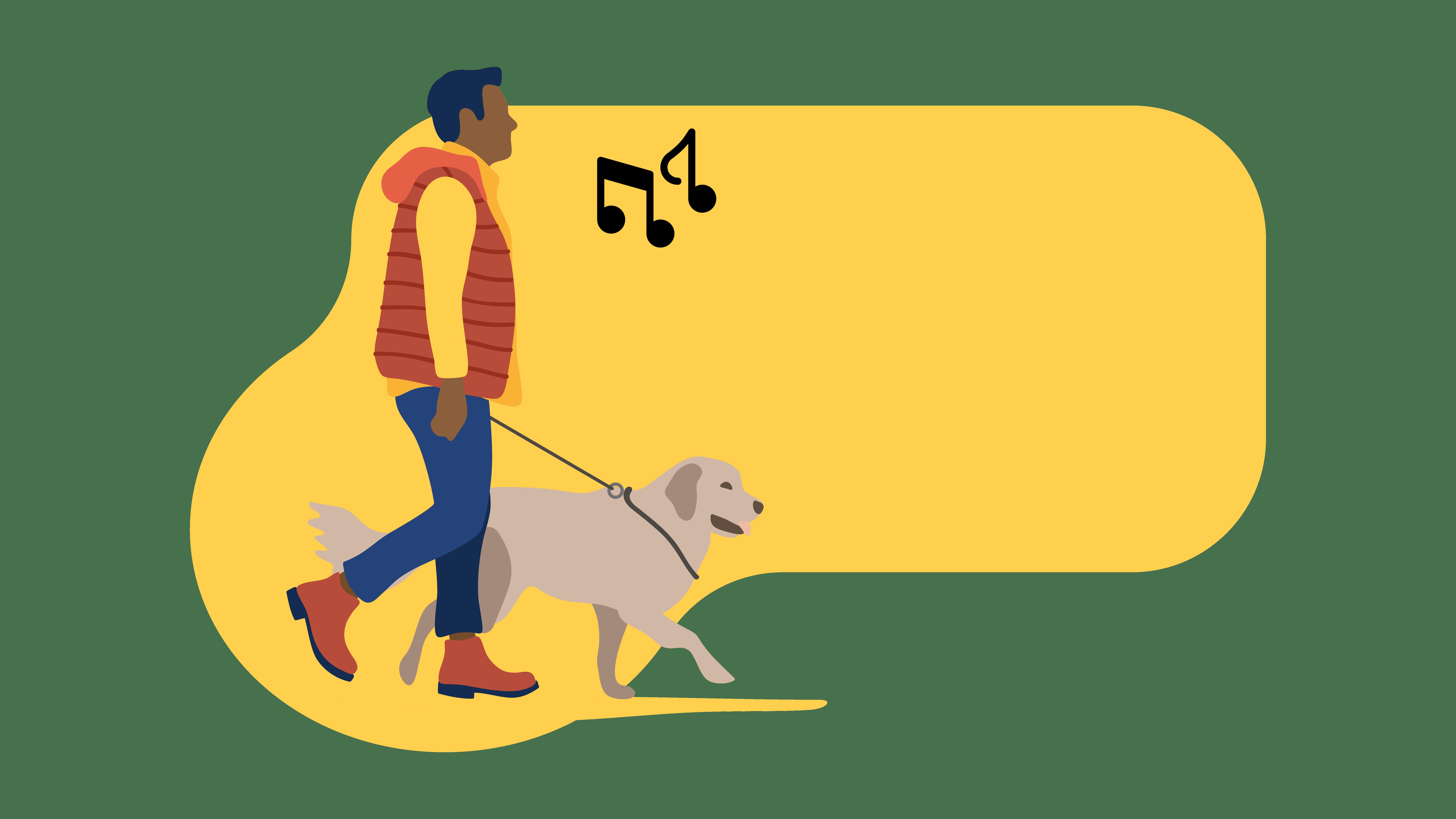 4 Fall Playlists to keep you warm man walking dog